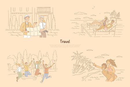 Man and woman finding way on map, laying on beach in beach chair, group of friends in front of van, summertime vacation banner. Traveling together cartoon concept sketch. Flat vector illustration