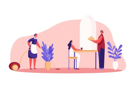 Hotel resident having breakfast, guesthouse room service, maid cleaning, waiter holding serving tray, luxury lifestyle. Rich woman with servants concept cartoon sketch. Flat vector illustration