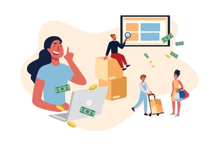 E-commerce website users, eshopping helpline, customer support service manager, buyers purchasing electronics online. Delivery guy helping shopaholic concept cartoon sketch. Flat vector illustration Illustration