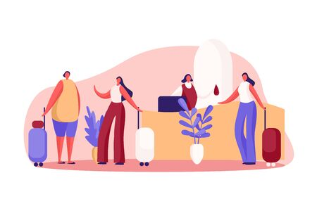 Girlfriends on vacation, women with luggage at reception, guesthouse front desk, administrator gives visitor key. Hotel service, room reservation concept cartoon sketch. Flat vector illustration