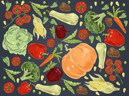 Natural vegetables, pumpkin, cabbage, tomatoes and paprika organic nutrition set. Farm food, seasonal harvest doodle. Flat vector illustration