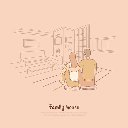 Couple sitting in apartment together, man hugging woman on floor of living room, cute pastime for lovers banner. Family dream house cartoon concept sketch. Flat vector illustration