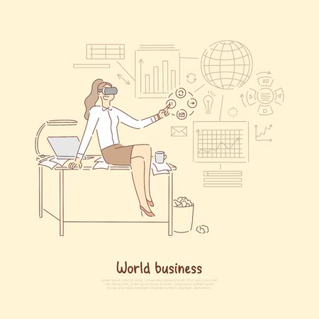 Modern world business management, manager in virtual reality headset preparing statistical report on economic transactions banner. Globalized economy concept cartoon sketch. Flat vector illustration