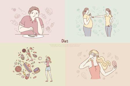 Nutrition végétalienne, avant et après, femmes grasses et minces, anorexie, peur des calories, abstinence de sucreries, bannière de régime. Perte de poids, croquis de dessin animé de concept de mode de vie sain. Illustration vectorielle plane