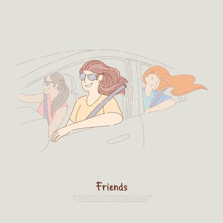 Young girlfriends on road trip, happy women ride in car, female friendship, summer journey, adventure banner. Holiday recreation, vacation travel concept cartoon sketch. Flat vector illustration