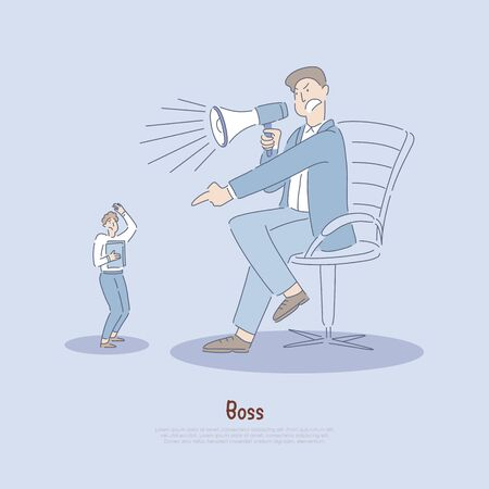 Employer abusing worker, employee verbally abused by manager, excessive use of power, stress in workplace banner. Boss yelling at man concept cartoon sketch. Flat vector illustration