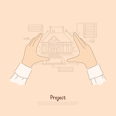 Creator arms metaphor, architect envisioning future house, blueprint measurements of building project banner. Engineer designs cottage construction concept cartoon sketch. Flat vector illustration