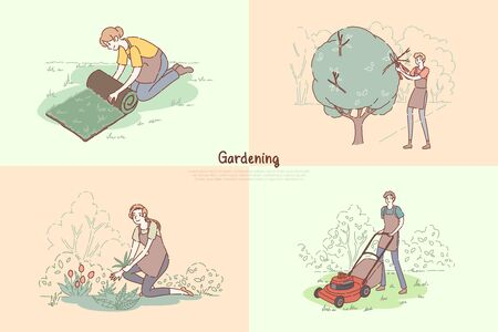 Young gardeners chores, lawn laying, trees pruning, planting flowers, grass mowing, gardening service banner