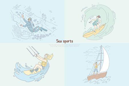 Diver underwater, surfer riding wave, kitesurfing and windsurfing, sailing at sea banner. Sea sports, water extreme activities, summertime leisure cartoon concept sketch. Flat vector illustration Ilustração Vetorial