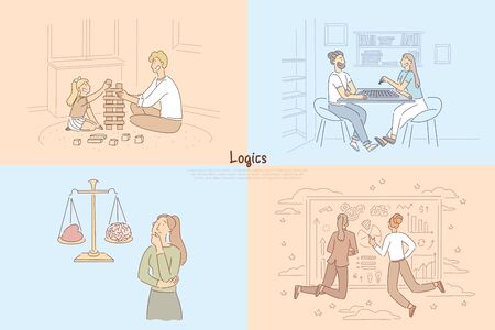 Building a brick tower with child, couple playing tabletop game of chess, logical thinking vs emotions, analyzing chart banner. Logics cartoon concept sketch. Flat vector illustration
