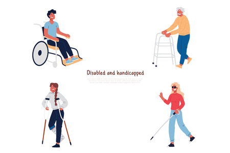 Disabled and handicapped people in wheelchair, with crutches, elderly man with walker, blindness, poor vision banner