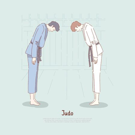 Judo school, fighters bow down, sparring start or end, self defence classes, oriental martial arts, karate dojo banner