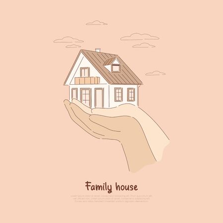 Two hands holding house, paying off mortgage, insurance on real estate, renting living space, buying dream home banner. Family house cartoon concept sketch. Flat vector illustration