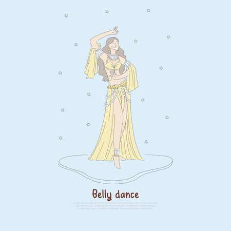 Pretty woman in authentic dress, beautiful dancer performing exotic belly dance, oriental culture banner. Traditional eastern entertainment concept cartoon sketch. Flat vector illustration