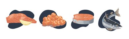 Delicious tuna fish, salmon fillet with lemon slice, red caviar, sea delicacy, gourmet dinner, natural vegetarian lunch set. Seafood restaurant menu concept cartoon sketch. Flat vector illustration