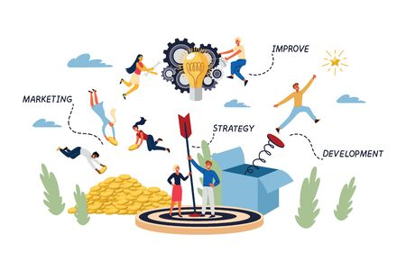 Business Concept of Target, Goal, Achievement and Teamwork.