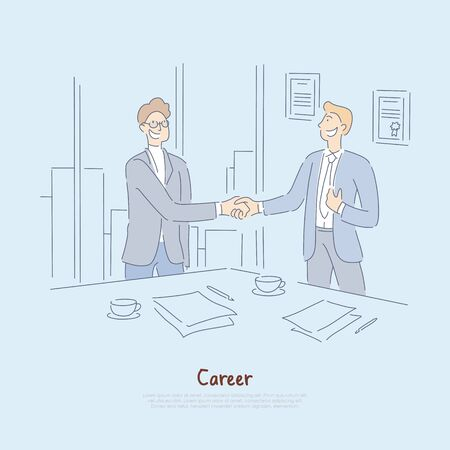 Striking deal, interview success, signing employment papers and contract, businessmen meeting in office banner. Career start, employment, recruitment cartoon concept sketch. Flat vector illustration