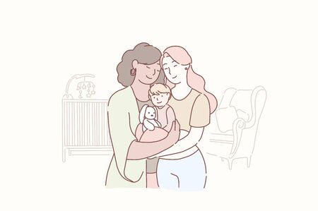 Lovely lesbian family. Two adult women and small baby standing together in the children s room at home. Wife and wife together holding infant. Gay parents with child. Homosexual couple with baby