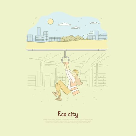 Female construction worker lowering screen, changing our world for better, creating environmentally friendly future banner. Eco city, green town cartoon concept sketch. Flat vector illustration