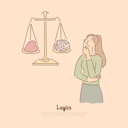 Brain vs heart on scales, logical thinking versus emotional reaction metaphor banner. Confused woman choosing between rational and emotional decision concept cartoon sketch. Flat vector illustration
