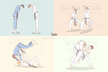Judo training, young students in kimono bow down, practicing footboard and throw, oriental martial arts banner. Japanese single combat school concept cartoon sketch. Flat vector illustration Vektorové ilustrace