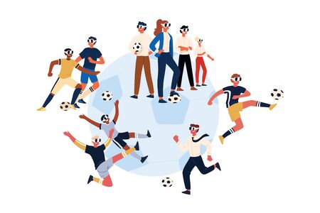 Soccer players wearing virtual reality headsets, male, female footballers in VR glasses kicking ball. Modern 3d digital entertainment technologies concept cartoon sketch. Flat vector illustration