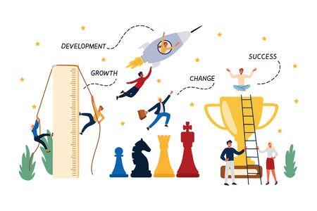 Concepto de negocio de carrera, puesta en marcha, crecimiento, promoción y desarrollo. Diseño plano de dibujos animados, ilustración vectorial aislada.