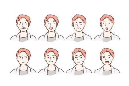Handsome guy with different facial expressions. Young boy smiling, happy, kind, anger, sad face character. Set of men s emotions. Facial expression. Cartoon flat Design Isolated Vector Illustration Ilustração