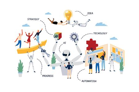 Business Concept of Robotic Process Automation, RPA. Çizim