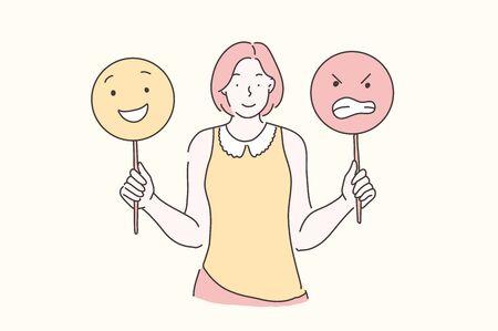 Emotionen, Training, Stimmungskonzept verwalten. Junge schöne Frau lehrt entwickelt emotionale Intelligenz. Jugendlichmädchen, das Emoticons hält. Vektor-flaches Design. Vektorgrafik