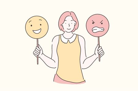 Manage Emotions, Training, Mood concept. Young beautiful woman teaches develops emotional intelligence. Teenager girl holding emoticons. Vector flat design.