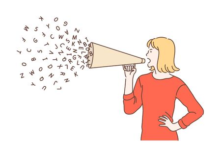 Promotion, advance, campaign concept. Emotional woman using megaphone for advertising or digital marketing. Feminist girl speaking loudly in the megaphone. Vector flat design.
