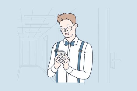 Businessman or office clerk checking happily his smartphone. Teacher or young student reads good news on mobile phone at school or college. Vector flat design.
