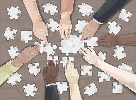 Teamwork, puzzle, collaboration concept.