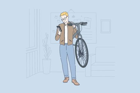Business, modern, freelance concept. Young happy smiling businessman watches a message on his phone at the office holding a bicycle in his hands. Teacher at school or college. Simple flat vector.