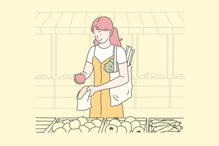 Vegan food, housewife, eco concept.