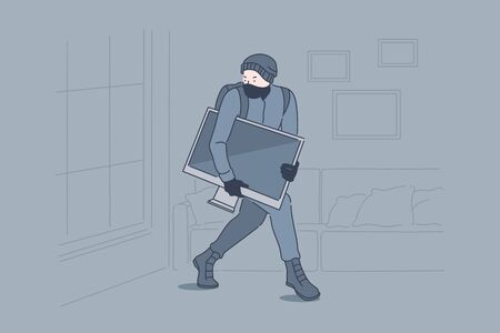 Burglary, crime, robbery, theft concept. Robber stealing TV set from apartment, lawbreaker, masked thief, housebreaker sneaking with tv set in darkness. Simple flat vector