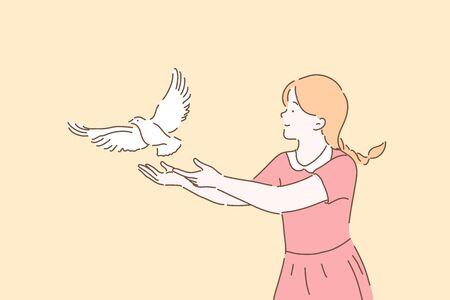 Peace symbol, freedom metaphor concept Illustration