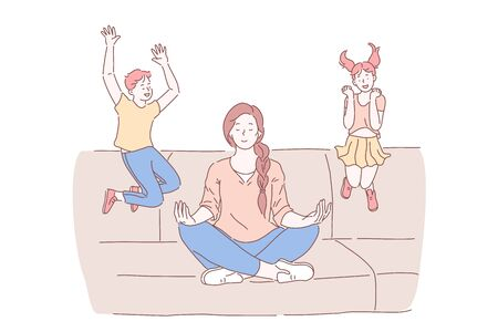 Motherhood, psychological balance concept. Mother meditating in lotus pose with excited kids jumping on sofa, relaxed mommy practicing yoga calming techniques. Simple flat vector Stock Illustratie