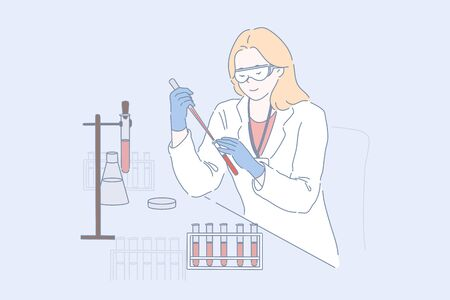Lab worker at work concept