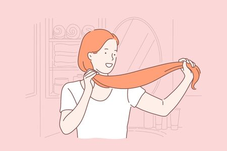 Hair care, hairdo, beauty, saloon procedure concept Ilustração