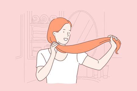Hair care, hairdo, beauty, saloon procedure concept Illustration