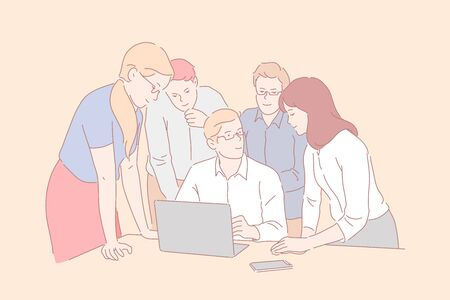 Teamwork, coworking, cooperation concept. Иллюстрация