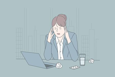 Stress, business, psychological state, brainstorming, migraine concept
