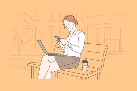 Business, communication, lunch, freelance concept. Vector Illustratie