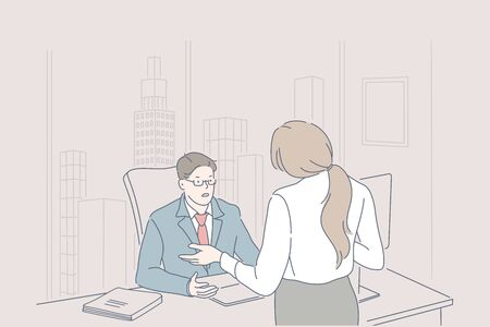 Business, management, leadership, dismissing concept.
