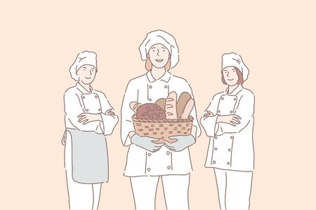 Baker, advertising, cook, business concept. Illustration