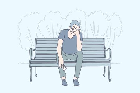 Frustration, emotional stress, depression concept. Young man sitting on bench with phone, desperate guy receiving bad news, psychological problem, sad person with migraine. Simple flat vector Illusztráció