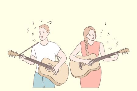 Music band, playing guitar, duet singing concept. Friends playing musical instruments. Young guitarists amateur performance. Musicians couple with acoustic guitars. Simple flat vector
