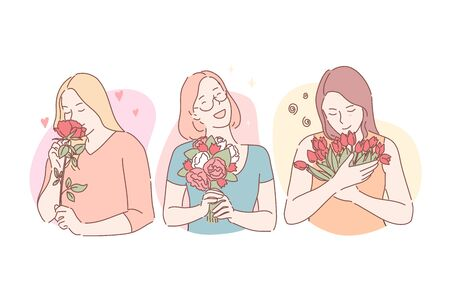 Holiday, congratulation, gift concept. Birthday, Valentines Day, International Womens Day, conviviality, festive mood, positive emotions, young women with flower bouquets. Simple flat vector Vector Illustration